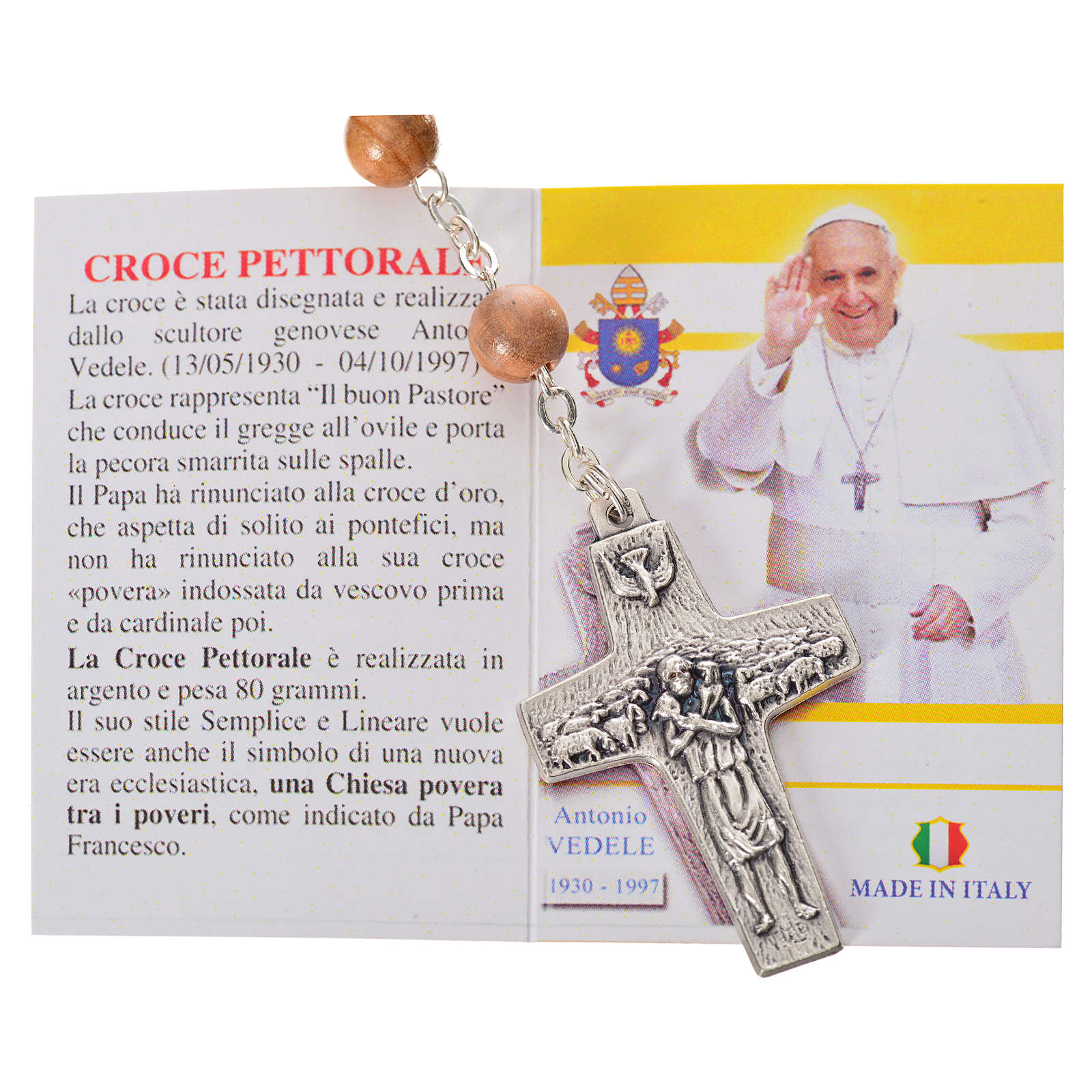 Chapelet bois d'olivier Pape François 4