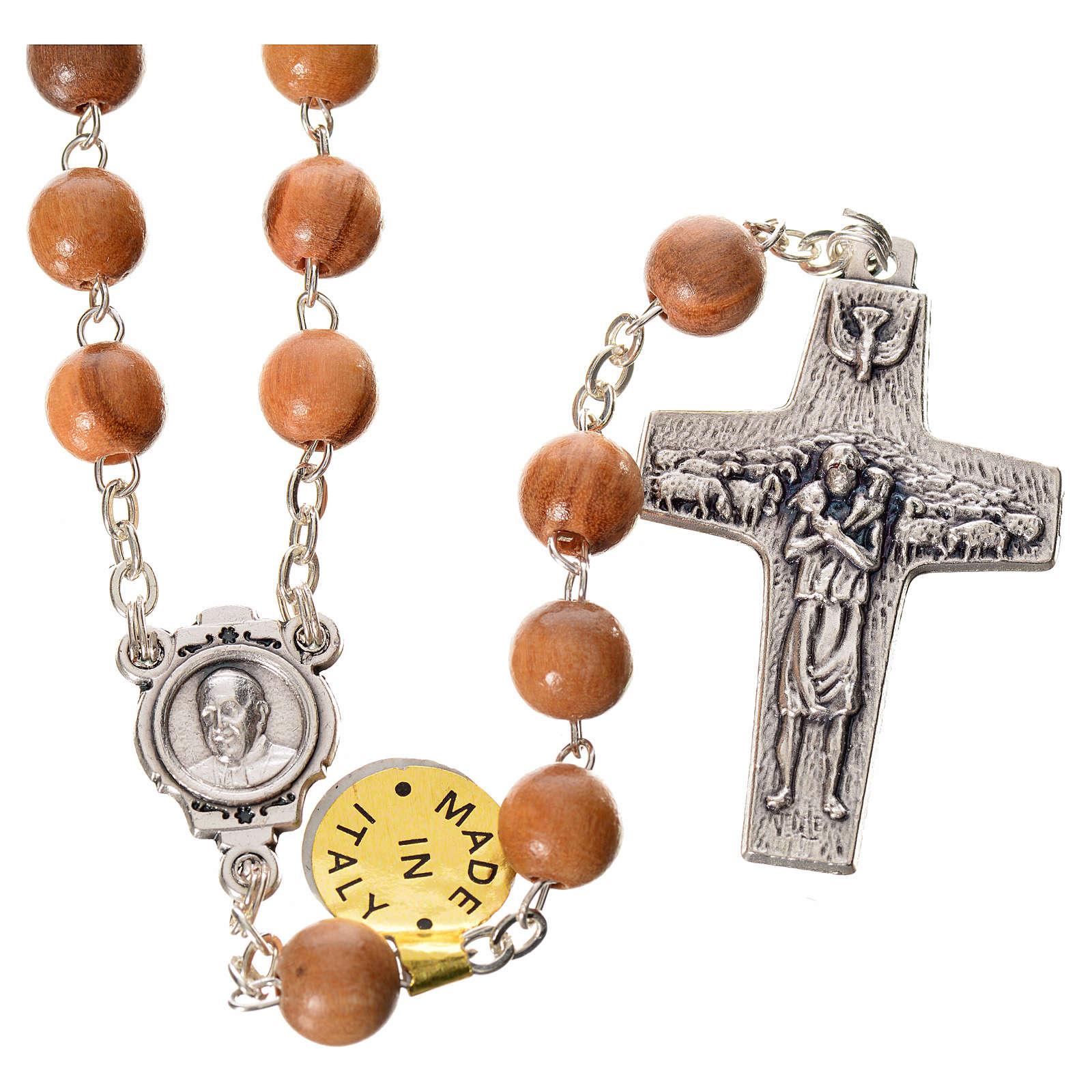 Różaniec drewno oliwne Papież Franciszek 4