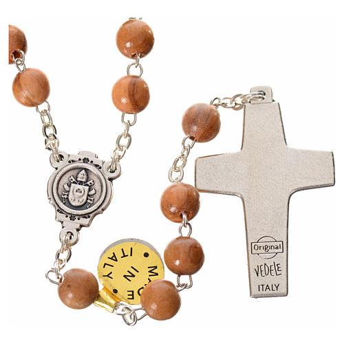 Różaniec drewno oliwne Papież Franciszek 2