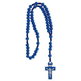 Rosario de madera azul 7 mm atadura seda s4