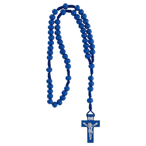 Rosario de madera azul 7 mm atadura seda 4