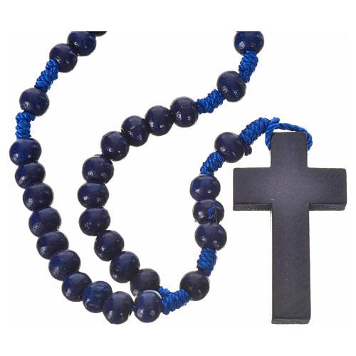 Rosario legno blu 7mm legatura seta 1