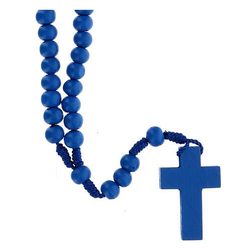 Rosario legno blu 7mm legatura seta 2