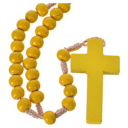 Rosario in legno giallo 7 mm legatura seta 1