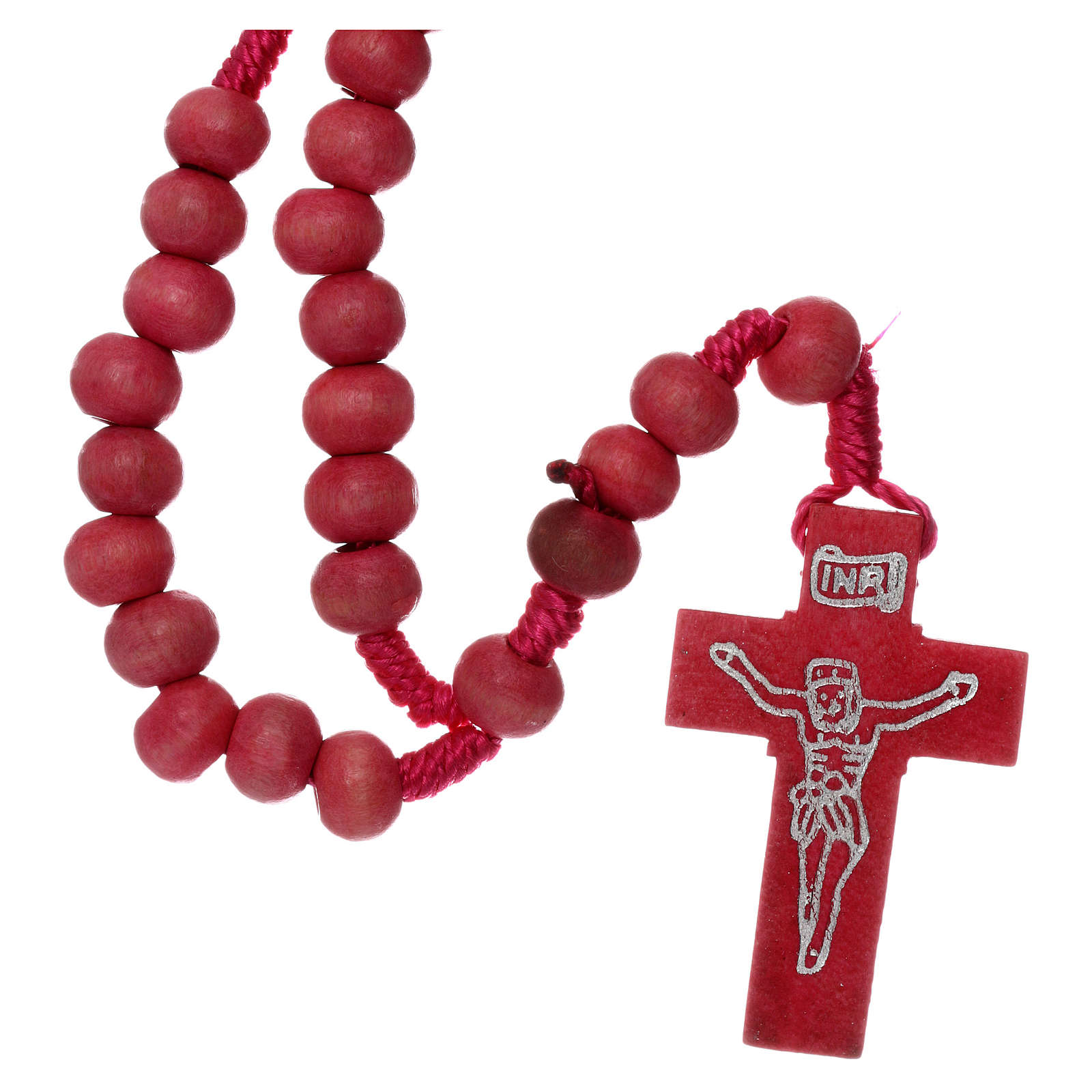 Rosary in pink wood 7mm with silk ligature 4