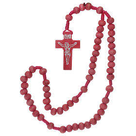 Rosary in pink wood 7mm with silk ligature s4