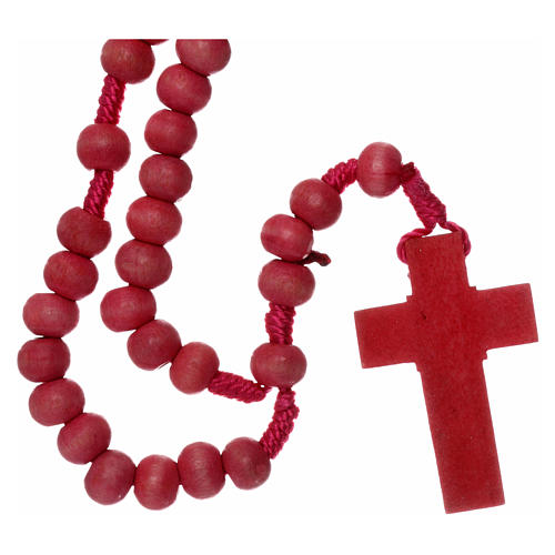 Rosary in pink wood 7mm with silk ligature 2