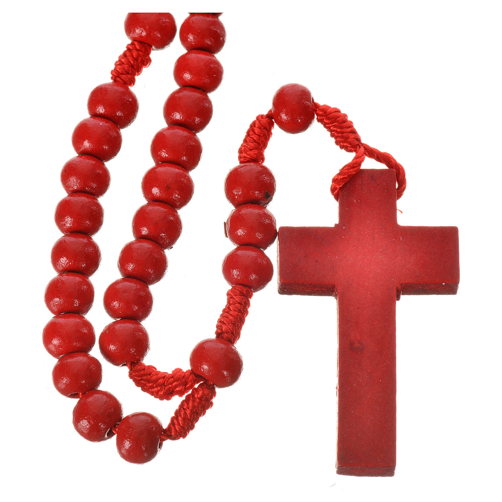 Rosario de madera color rojo 7 mm atadura seda 4