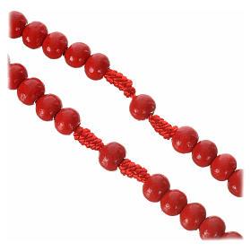 Rosario de madera color rojo 7 mm atadura seda s2