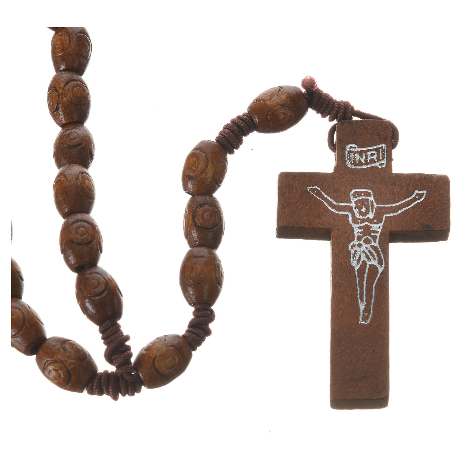 Rosary with wood and elastic 6x8mm 4