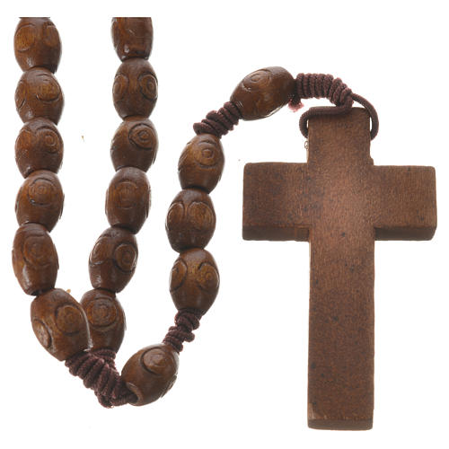 Rosary with wood and elastic 6x8mm 2