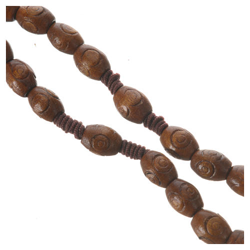 Rosary with wood and elastic 6x8mm 3
