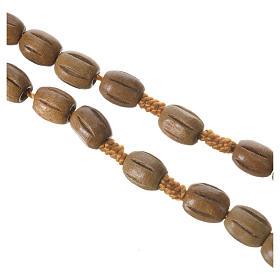 Chapelet bois ovale grains travaillés 8x10 mm s3