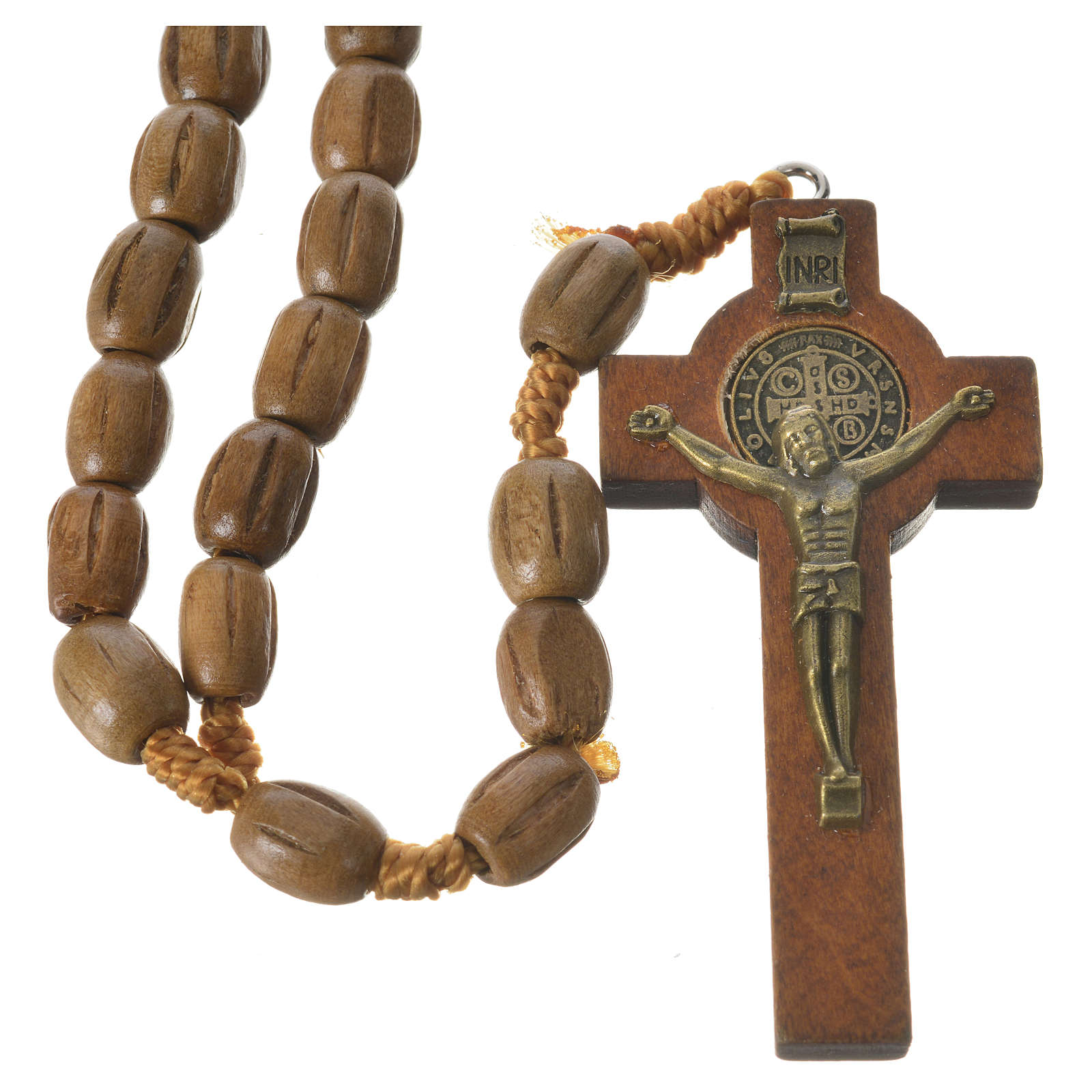 Rosary with worked, oval wooden grains 8x10mm 4