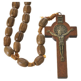 Rosary with worked, oval wooden grains 8x10mm s1