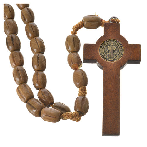 Rosary with worked, oval wooden grains 8x10mm 2