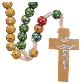 Missionary rosary beads in wood with flowers s1