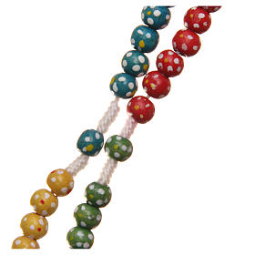 Missionary rosary beads in wood with flowers s3