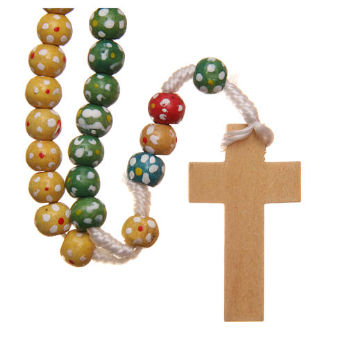Missionary rosary beads in wood with flowers 2
