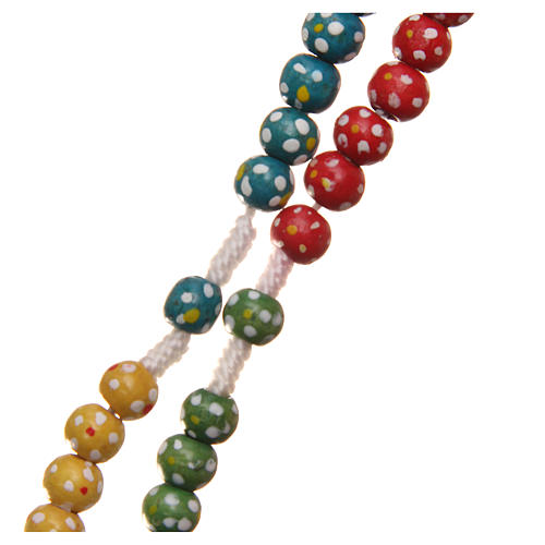 Missionary rosary beads in wood with flowers 3