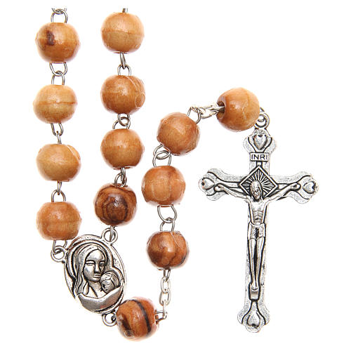 Rosary beads in Holy Land olive tree wood with soil 1