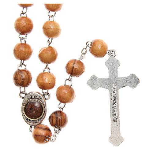 Rosary beads in Holy Land olive tree wood with soil 2