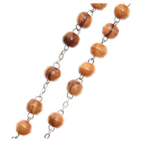 Rosary beads in Holy Land olive tree wood with soil 3