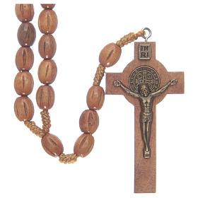 Rosario con grani in legno con croce legno S. Benedetto s1