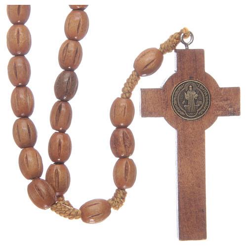 Rosario con grani in legno con croce legno S. Benedetto 2