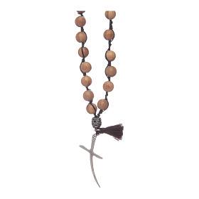 Chapelet avec grains en bois d'olivier et croix s2