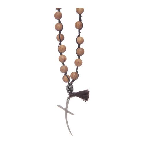 Chapelet avec grains en bois d'olivier et croix 2