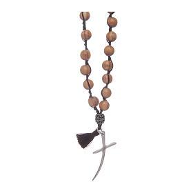 Rosario con grani in legno di olivo e croce s1