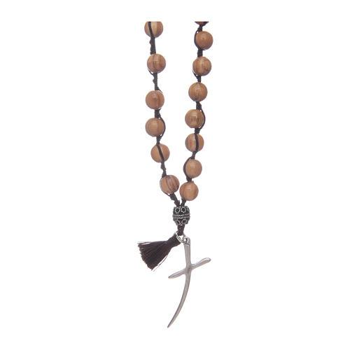 Rosario con grani in legno di olivo e croce 1