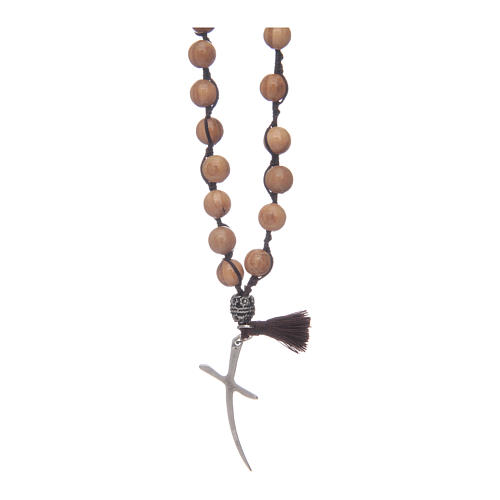Rosario con grani in legno di olivo e croce 2