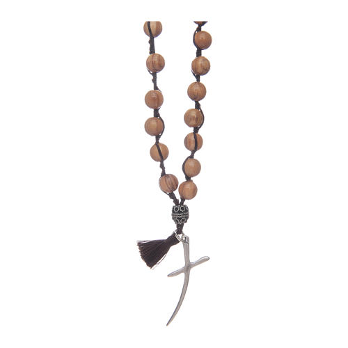 Rosary with olive wood grains and cross 1