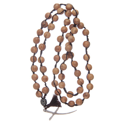 Rosary with olive wood grains and cross 4