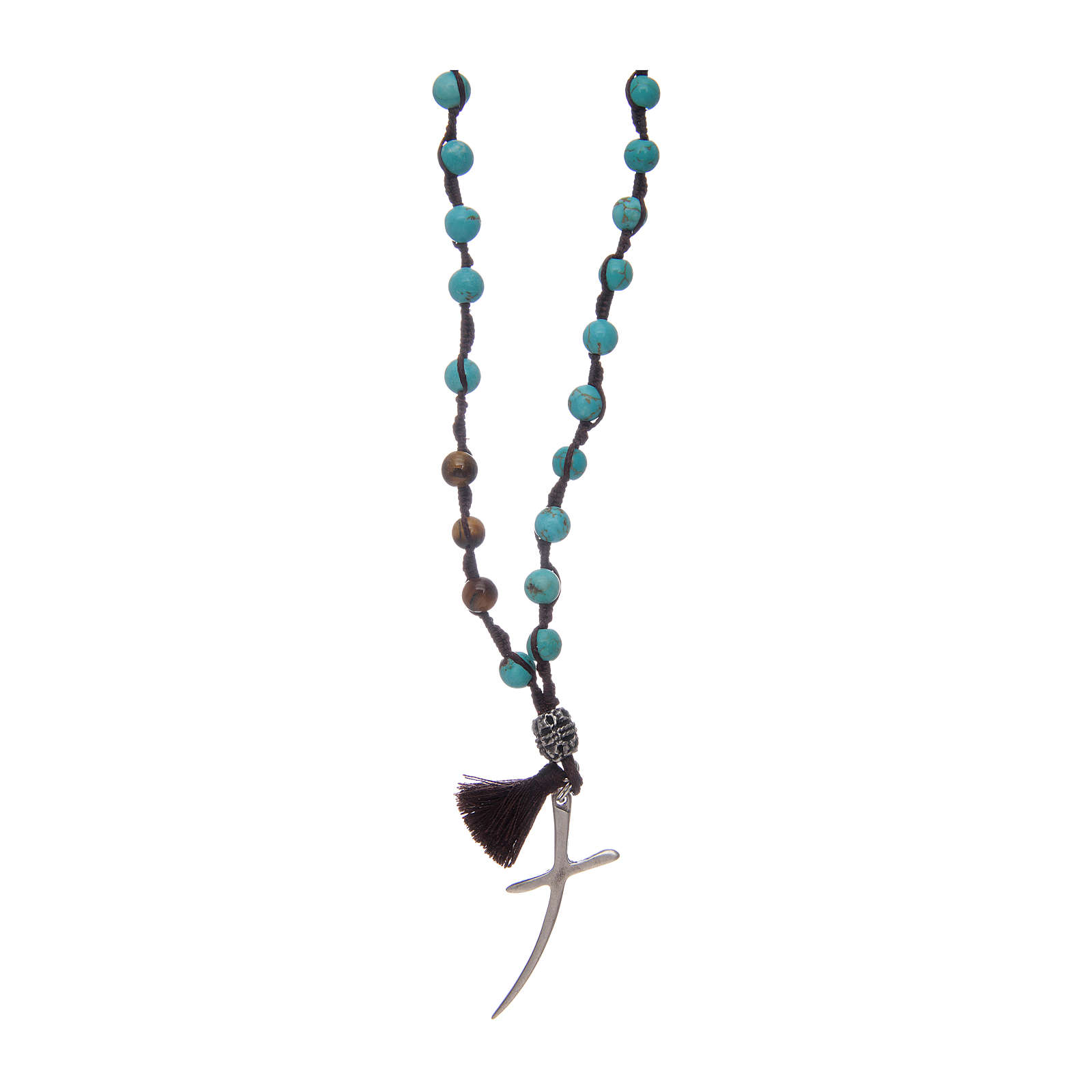 Rosary with turquoise grains and stylized cross 4