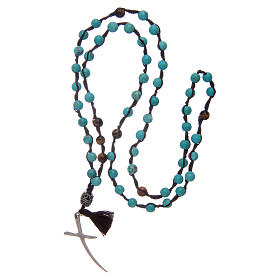Rosary with turquoise grains and stylized cross s4