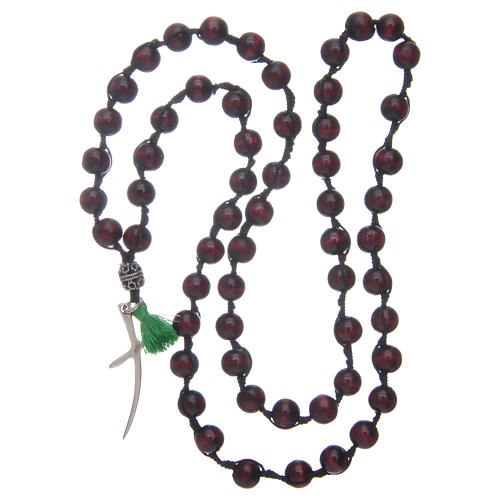 Rosary necklace composed by beechwood grains in rosewood colour 4