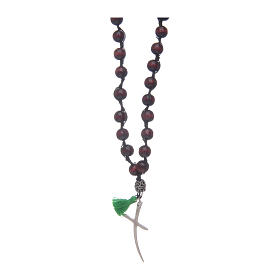 Rosary necklace composed by beechwood grains in rosewood colour s1