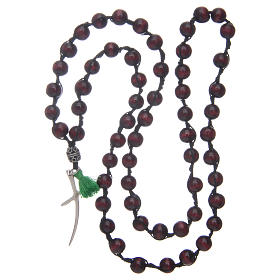 Rosary necklace composed by beechwood grains in rosewood colour s4