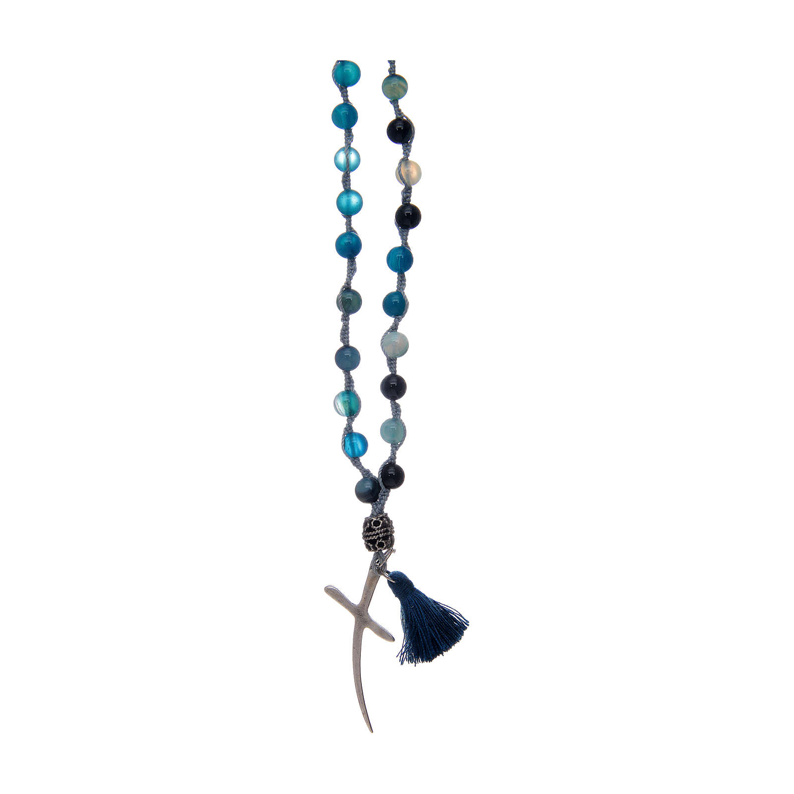 Rosary necklace with agate stones and cross 4