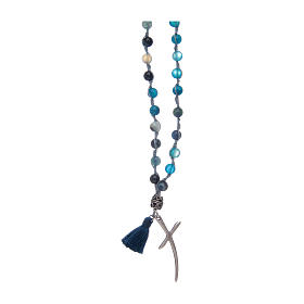 Rosary necklace with agate stones and cross s2