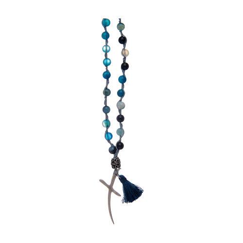Chapelet collier en pierre agate et croix 1