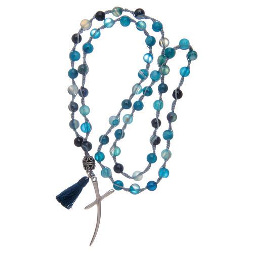 Chapelet collier en pierre agate et croix 4