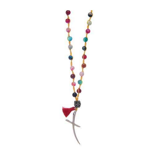 Rosario in pietra agata grani colori misti 1