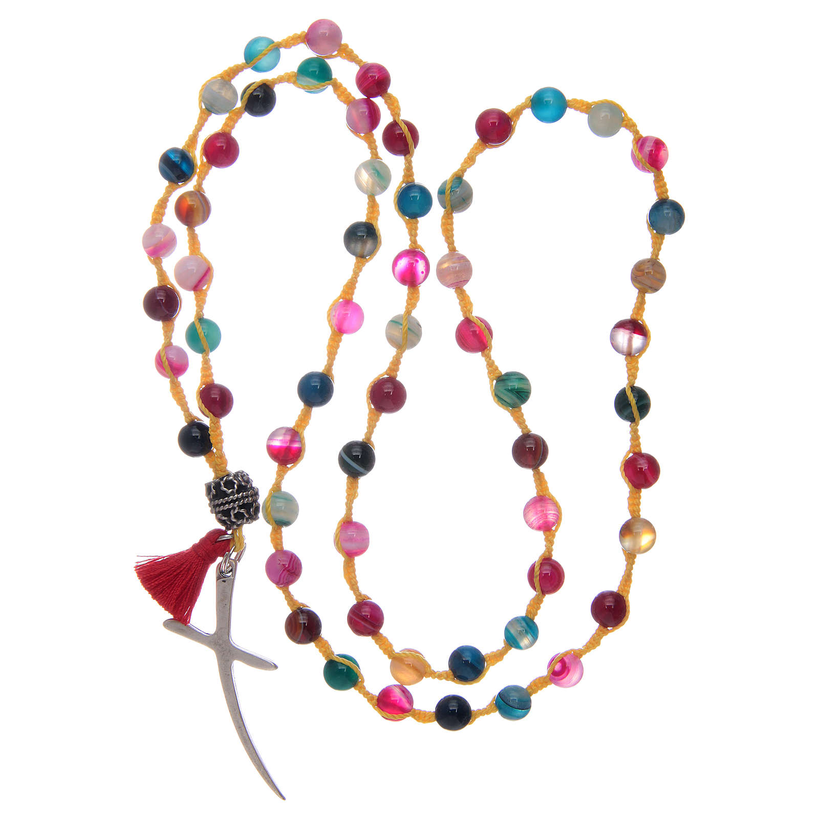 Rosary necklace with agate stone in mixed colours 4