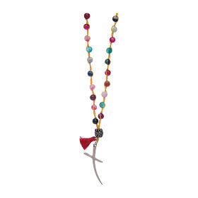 Rosary necklace with agate stone in mixed colours s1