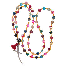 Rosary necklace with agate stone in mixed colours s4