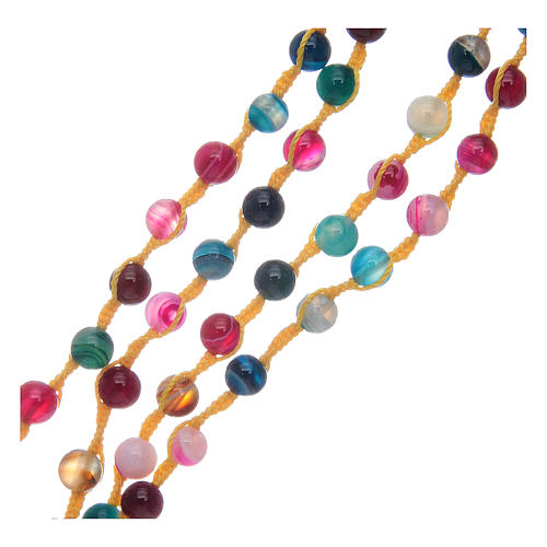 Rosary necklace with agate stone in mixed colours 3